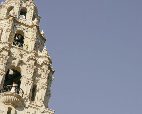 bride and groom in the top of the tower of the Museum of Man in Balboa Park San Diego