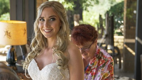 Bride getting ready at Condor's Nest Ranch