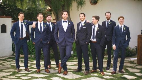 Groom and groomsmen getting ready at Adamson House Museum in Malibu