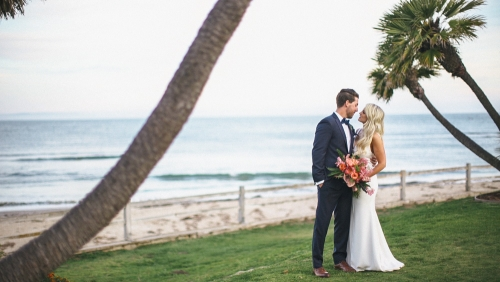 Bride and groom wedding surfrider beach malibu