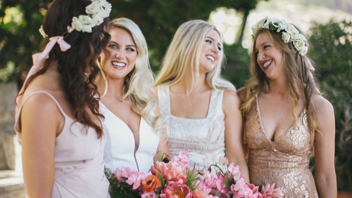 Bride and bridesmaids getting ready at Adamson House Museum in Malibu