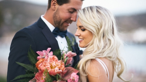 Bride and groom together at Adamson House Museum in Malibu wedding video