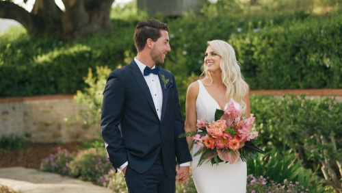 Bride and groom malibu wedding video Adamson House Museum